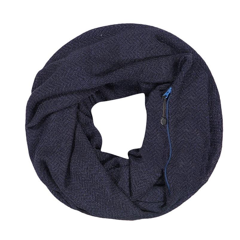 Unisex Winter Solid Wool Warm Loop Scarf Zippered Secret Pocket Shawl Ring Women Printing Scarf Bufanda de las mujeres R29 (1)