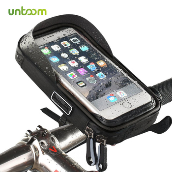 Untoom 6.0 inch Waterproof Bicycle Phone Holder Bike Motorcycle Handlebar Cell Phone Stand Mount for iPhone Samsung Xiaomi Redmi