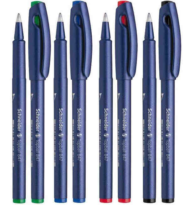 cigarette shaped ball pen black ink 3Pcs Schneider Topball 847 Gel ink Pen Roller Ball Pen Student Exam 0.5mm Black/Blue/Red Office and School supplies