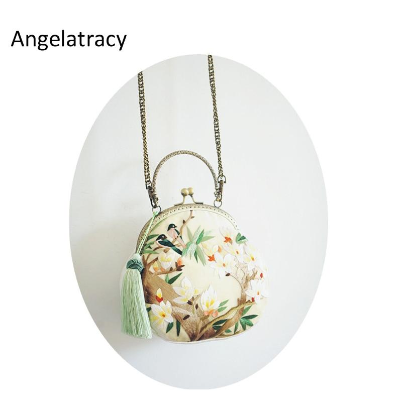 Angelatracy 2018 Limited Version Bag Women Handmade Bag Silk Embroidery Floral Handbag Bird Lotus Mini Lady Purse with Tassel bird patch purse