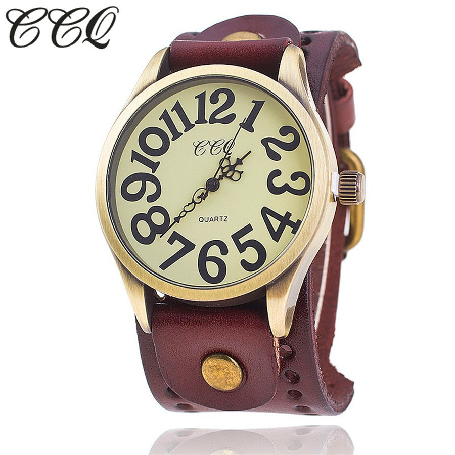 CCQ Brand Vintage Cow Leather Number Dail Watch Casual Men Wristwatch Luxury Quartz Watches Relogio Masculino ccq brand fashion vintage cow leather bracelet roma watch women wristwatch casual luxury quartz watch relogio feminino gift 1810