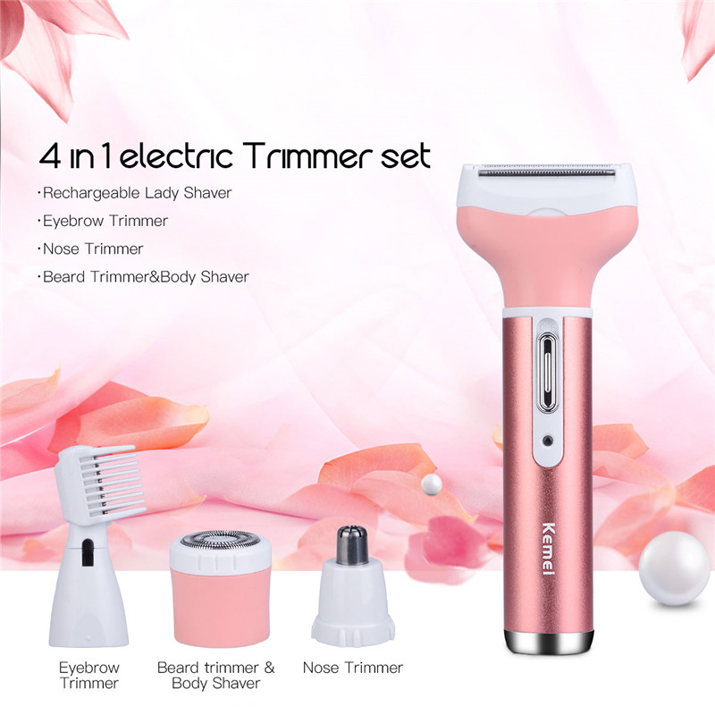 цена 4 in 1 kemei Face Epilator Trimmer Eyebrow Hair Removal Machine Depilatory Facial Nose Trimmer Electric Women Shaver Lady Razor