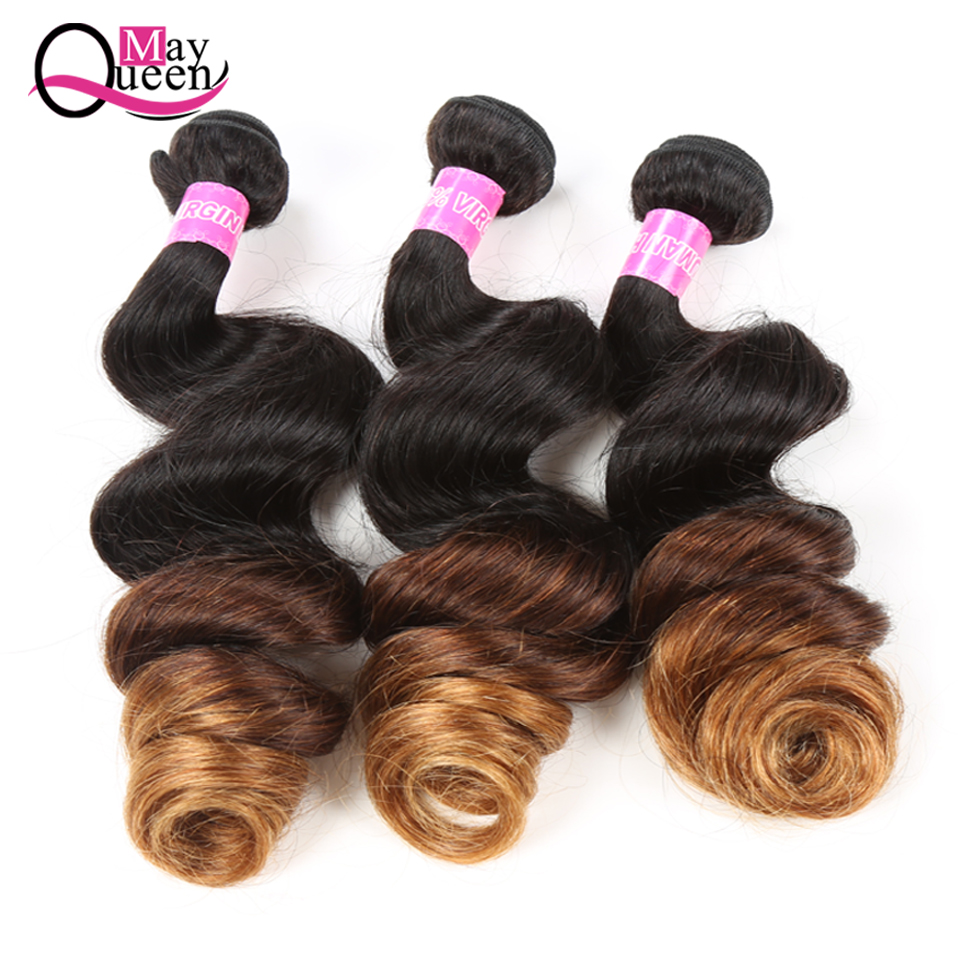 May Queen Three Tone Ombre Loose Wave 1B/4/30 Peruvian Human Hair 3 Bundles 100% Remy Hair Extensions Shipping Free