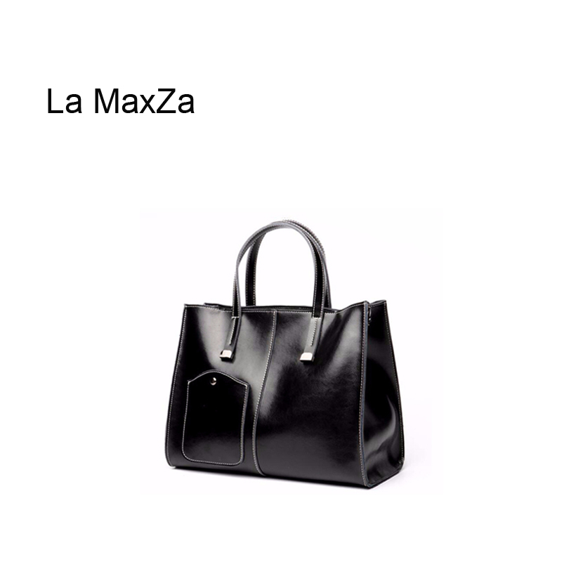 La MaxZa Vintage Oil Wax Top Split Leather Shopping Handbag Handle Shoulder Tote Commute Bag For Women  Leather HandbagsLa MaxZa Vintage Oil Wax Top Split Leather Shopping Handbag Handle Shoulder Tote Commute Bag For Women  Leather Handbags