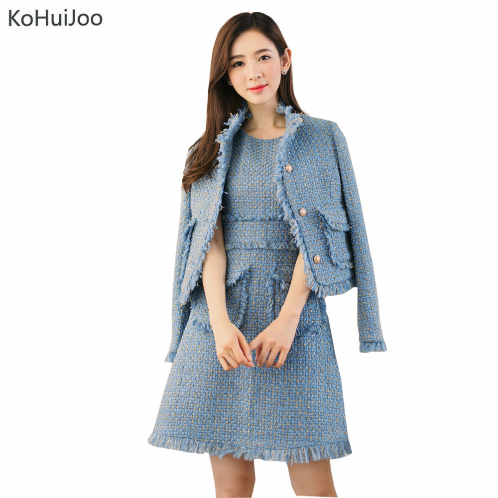 KoHuiJoo Autumn Winter Pink Blue Beige SleevelessTweed Dress Women Fashion Dress and Jacket Suit Tassel Pockets Wool Dresses