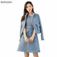 KoHuiJoo Autumn Winter Pink Blue Beige SleevelessTweed Dress Women Fashion Dress And Jacket Suit Tassel Pockets
