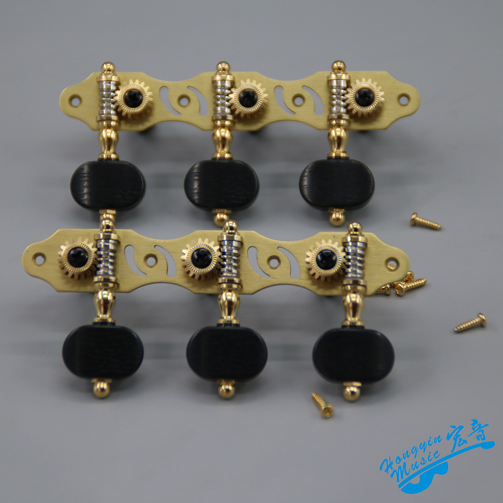1 paire Gauche et Droit Antique Cuivre Pur Creux guitare classique Cordes chevilles de guitare clés de guitare Touches 3L3R 306GX-P12