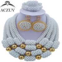 ACZUV Latest White African Beads Nigerian Wedding Engagement Jewelry Set for Women Big Earrings Necklace Bracelet D4R031