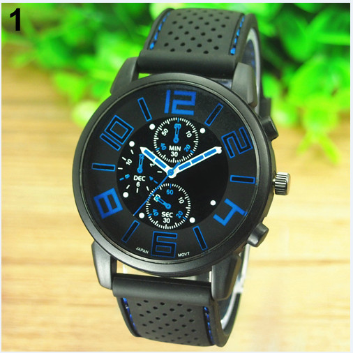 17 Men's Casual Sports Stainless Steel Silicone Band Quartz Analog Wrist Watch Fashion Style Water Proof 3
