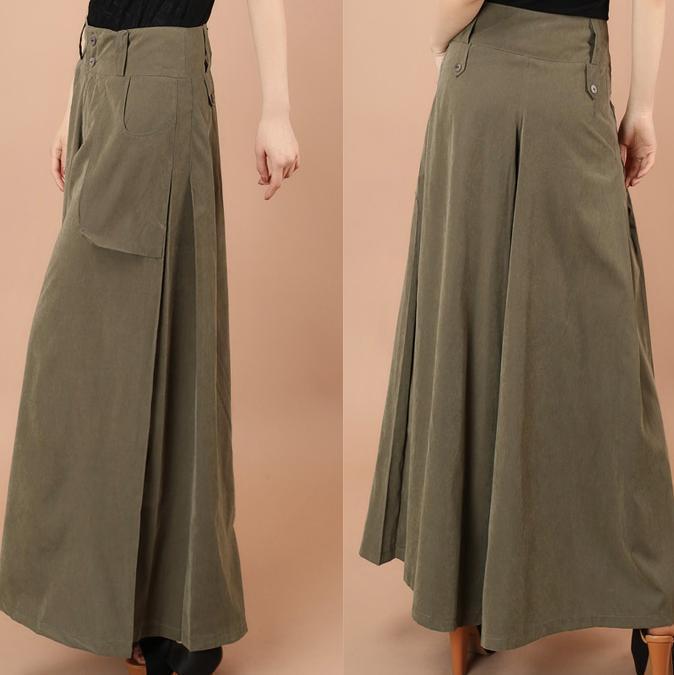 Высокая талия широкие брюки размера плюс женские повседневные брюки капри с карманами свободные брюки 4XL - Цвет: Армейский зеленый