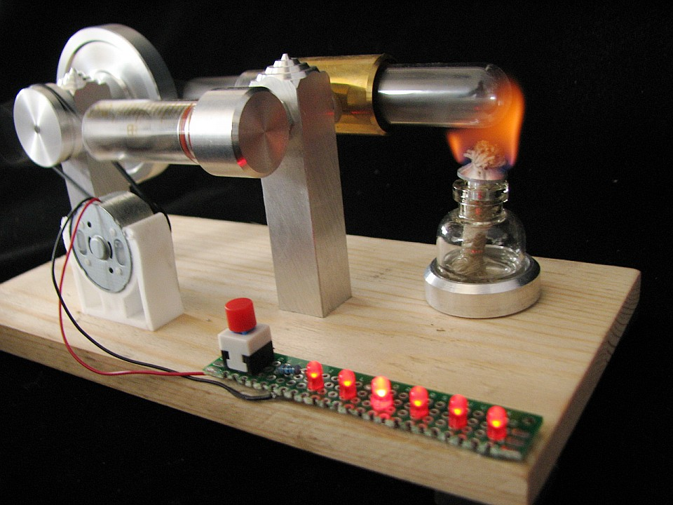 ФОТО stirling engine generator engine model DIY kits science toy with led(vedio on computer page)