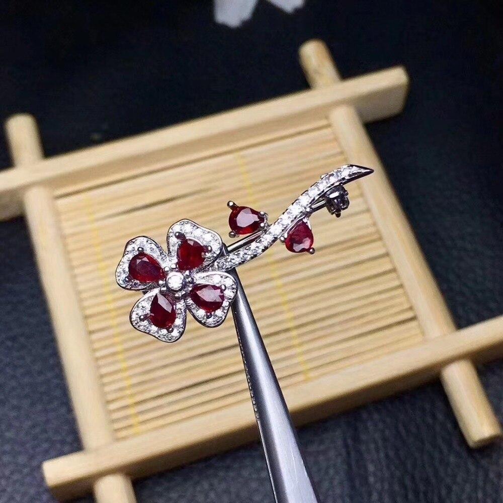 Bloem Real En Natuurlijke Ruby broche Gratis verzending Natuurlijke echte Robijn 925 sterling zilveren broche Bloem - 2