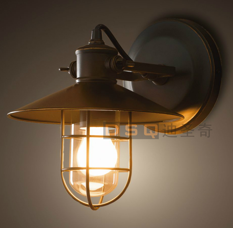 ФОТО Warehouse cage wall American country style retro antique living room bedroom lamp industry Wall Lamps
