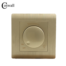 משלוח חינם COSWALL יוקרה קיר מתג אור דימר בקר שמפניה זהב AC 110 ~ 250V C31 סדרה