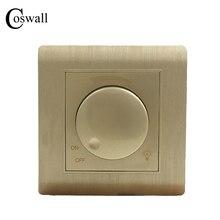 Freies Verschiffen COSWALL Luxus Wand Licht Schalter Dimmer Controller Champagner Gold AC 110 ~ 250V C31 serie