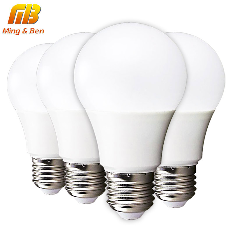 [MingBen] 4pcs LED Bulb Lamp E27 3W 5W 7W 9W 12W 15W 220V Cold White Warm White Lampada LED Smart IC High Brightness Desk Light 5pcs e27 led bulb 2w 4w 6w vintage cold white warm white edison lamp g45 led filament decorative bulb ac 220v 240v