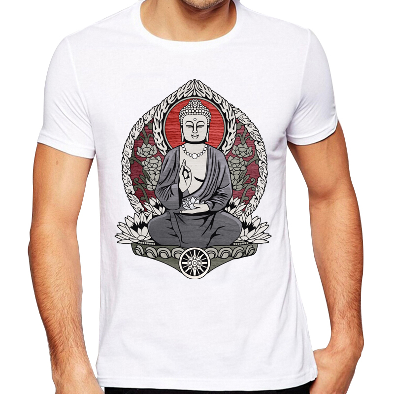 Men's 2016 Fashion Siddartha Gautama Buddha Design T Shirt High Quality Cool Tops Hipster Summer Tees
