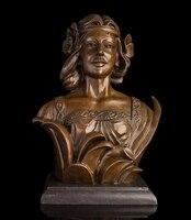 Медь украшения Тонкой Будда Латунь Известный классический рисунок Женщина Леди скульптуры дымохода дель бюст из бронзы фигурки Статуя
