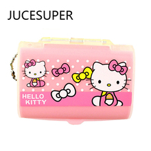 Hello Kitty 2Layer Portable7 Slots Seal Folding Pill Cases Jewelry Candy Vitamin Medicine Pill Box Storage Case Container Box