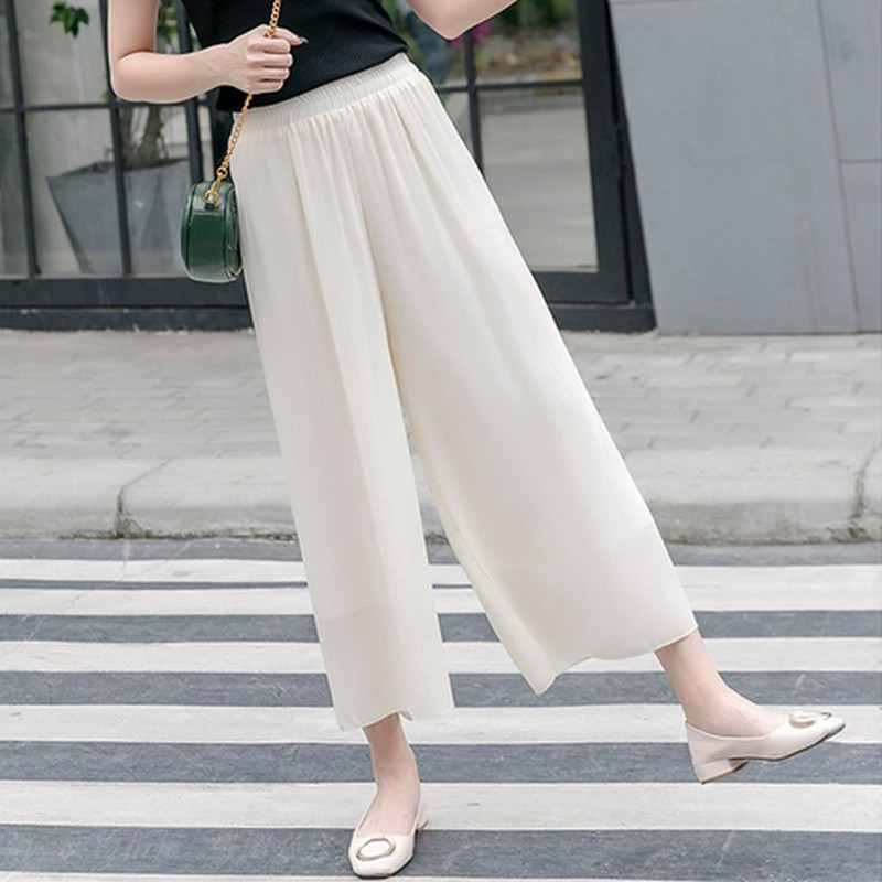 Loose Wide Leg   Pants   Women Casual Chiffon   Pants     Capris   High Waist Solid Color Trousers Light Slim Summer Pantalones Femme