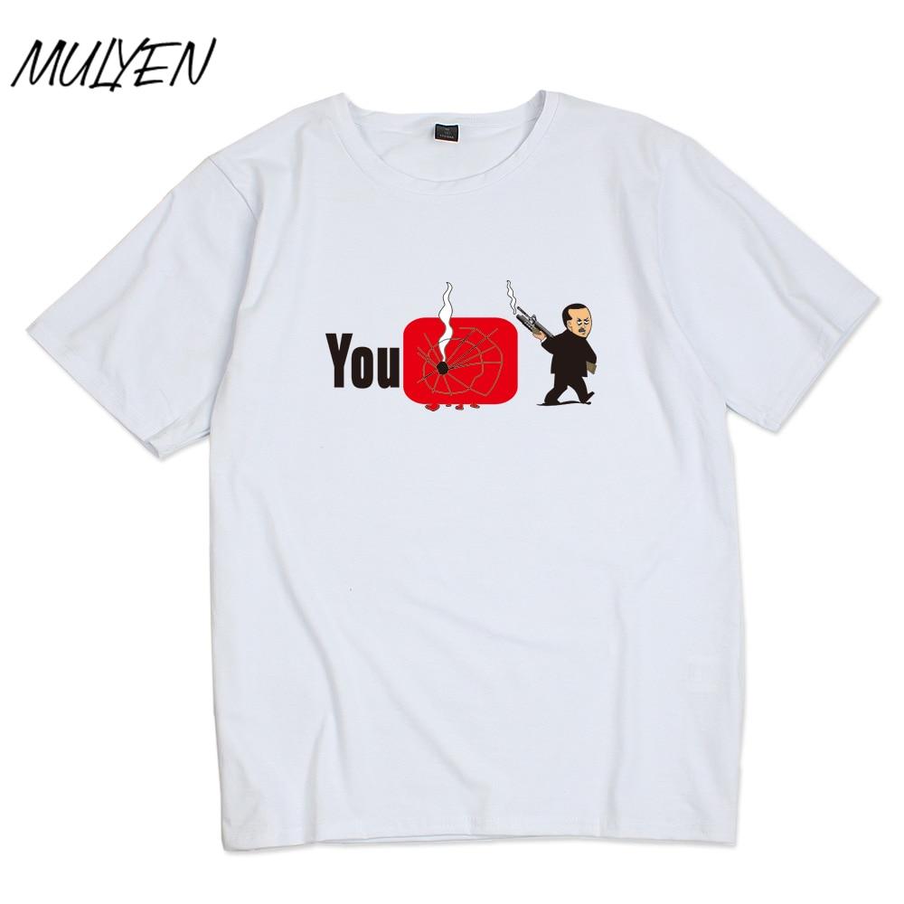 T shirt design youtube - Mulyen Youtube Print On T Shirt For Men Summer White T Shirt Cotton Tshirt Fashion Design Hip Hop Punk Short Sleeve Brand Tee