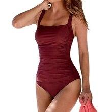 2019 New Vintage One Piece Swimsuit Women Swimwear Push Up Bathing Suit Ruched Tummy Control Monokini Retro Plus Size Beachwear