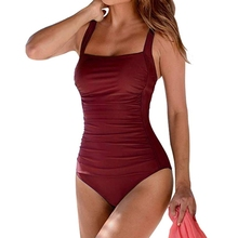 2020 nuevo traje de baño Vintage de una pieza para mujer, traje de baño Push Up, Monokini con Control de barriga acanalado, ropa de playa Retro de talla grande