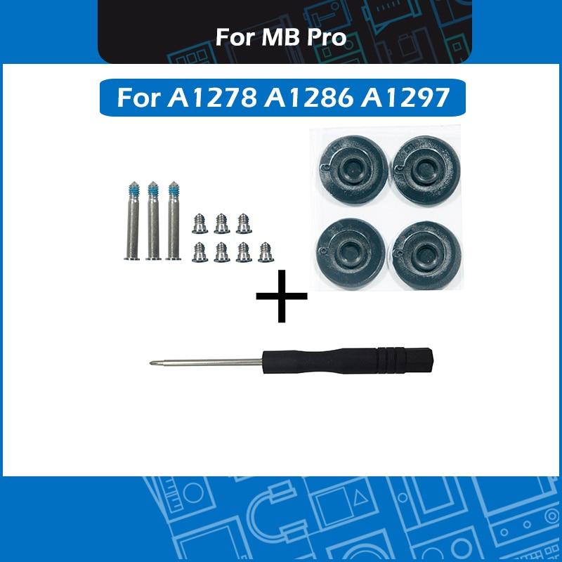 """Nuevo para Macbook Pro 13 """"15"""" 17 """"A1278 A1286 A1297 juego de tornillos de cubierta inferior + destornillador + kit de pies de goma inferior 2010-2012"""