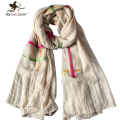Simple Design Striped Cotton Scarves and Shawls for Women Fashion Japanese Ethnic Style Mori Girl Scarf and Wraps Long Foulard