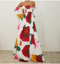 2019 Women Sexy Flower Print Strapless Backless Dress Elegant Off Shoulder Long A-Line Floral Maxi Dresses