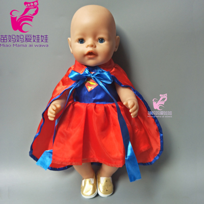 43cm Baby born doll super hero dress for 18 inch american girl dolls clothes suit for doll girls play house gift american girl doll clothes elegant color flower print long dress doll clothes for 18 american girl best gift 5 colors d 2