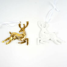 Reindeer Gold & White Metal Crafts Christmas Tree Ornaments for Home