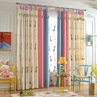 ZRCortinas Cartoon Deer Pattern Cloth Curtain for Kids Bedroom Yellow Pink Blue Splicing Curtain for Modern Living Room
