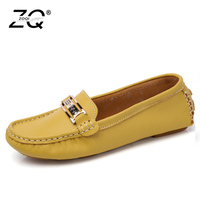 ZOQI Shoes Woman Genuine Leather Shoes Casual Slip On Ballet Women Flats Cut Out Printing Moccasins