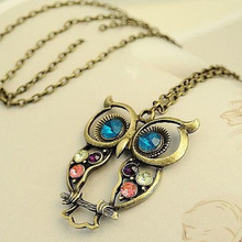 2016 Hot Sales New  Fashion Hollowing lovely vintage Colorful Cute OWL statement Pendant Necklaces for women Jewelry N55