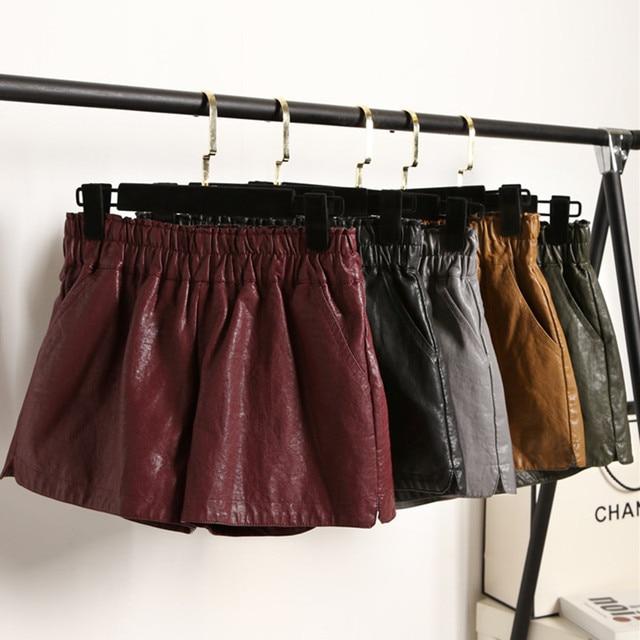 Short Feminino 2017 New Spring Autumn Women High Waist PU Leather Shorts Ladies Elastic Waist Loose Wide Legged Shorts