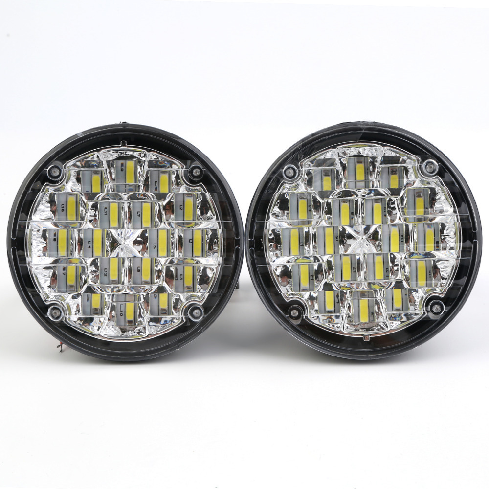 New Hot 2 pcs Waterproof 12V 18 LED Round Auto Car Fog Lamp Driving Daytime Running Light Ultra Bright White (6000k~8000k) qvvcev 2pcs new car led fog lamps 60w 9005 hb3 auto foglight drl headlight daytime running light lamp bulb pure white dc12v