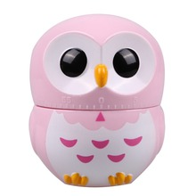 Owl Cartoon Kitchen Timers 60 Minutes Cooking Mechanical Home Decor Pink Dial Timers