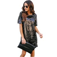 2018 New Spring Summer Style Dress Women O Neck Short Sleeve Paillette Sequins Loose Party Dresses
