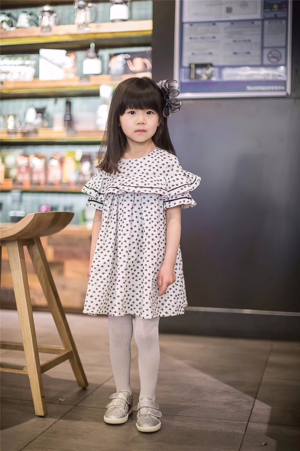 In stock dresses for girls High quality baby girls dress 2018 spring summer Embroidery Stars dress girls clothes
