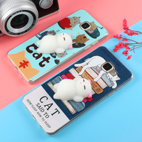 Funny Cute Cat Squishy Phone Case for Samsung Galaxy J3 J5 J7 A3 A5 A7 2016 2017 S6 S7 edge S8 Plus Soft TPU Cartoon Back Cover