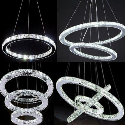 Modern chrome chandelier crystals diamond ring led lamp stainless modern chrome chandelier crystals diamond ring led lamp stainless steel hanging light fixtures adjustable cristal led aloadofball Images