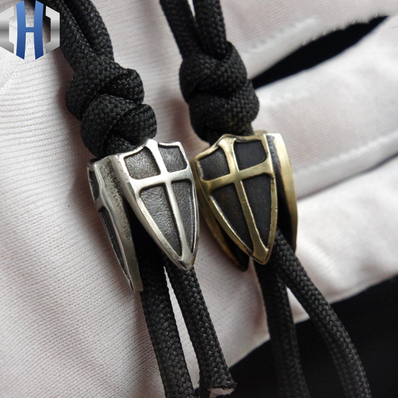EDC Brass Three-sided Shield Paracord Beads Knife Beads Blade Hanging Buckle Phone Pendant EDC Multi Tools Paracord Beads