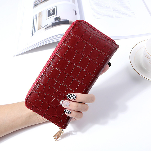 WESTERN AUSPICIOUS Female Wallet PU Leather Business Card Holder Green Red Pink Blue Black Brown Gold Silver Long Women Wallets