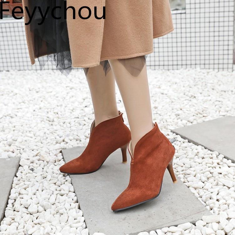 Zapatos Casual Negro Tobillo yellow Sexy Black 2018 Mujeres Browngreen Botas Invierno Flock Zip Motocicleta green Otoño Tacón Caliente Moda Chelsea Nueva Alto xPxSCwaq