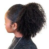 4B 4C Afro Rizado Rizado cola de Caballo Clip En 100% Miel Pelo Humano Productos de Pelo de la Reina Remy Del Pelo Del Color Natural