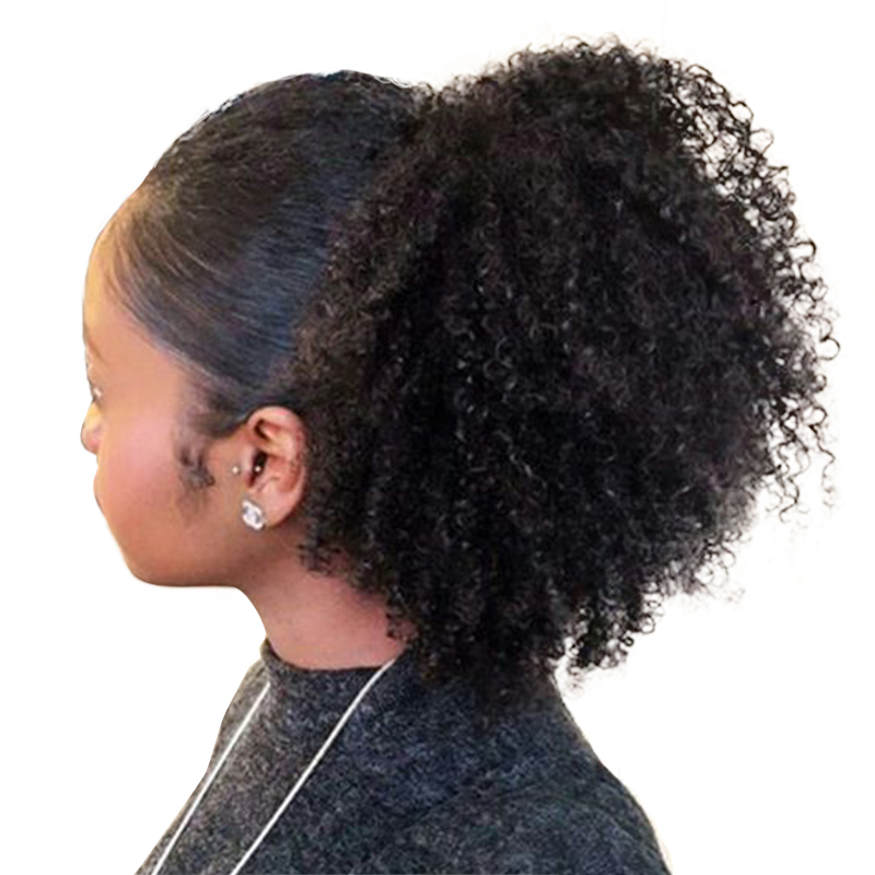 4B 4C Afro Kinky Curly Rabos de Cavalo Clip Em 100% Mel Cabelo Humano Rainha Produtos de Cabelo Remy Cabelo Cor Natural