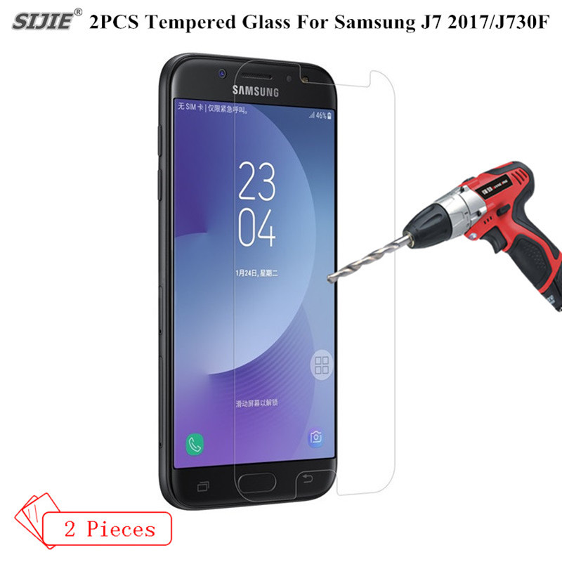 2PCS/lot Tempered Glass For Samsung Galaxy J7 2017 Screen Protector smartphone Sam J730F 9H protective Toughened glass film ...