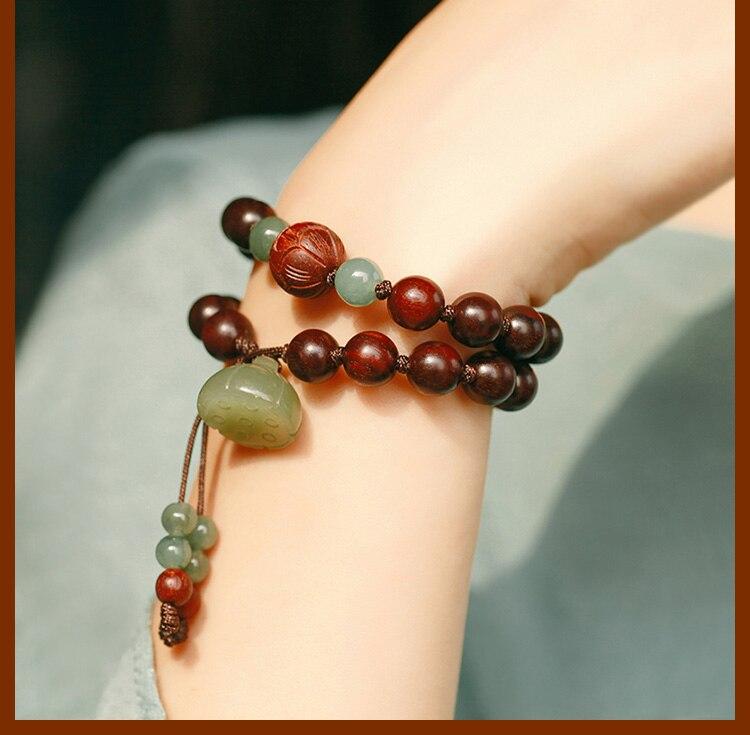Grânulos redsândalo artesanal pulseira lótus frisado envoltório pulseira boa sorte pulseira senhora jóias presente - 2