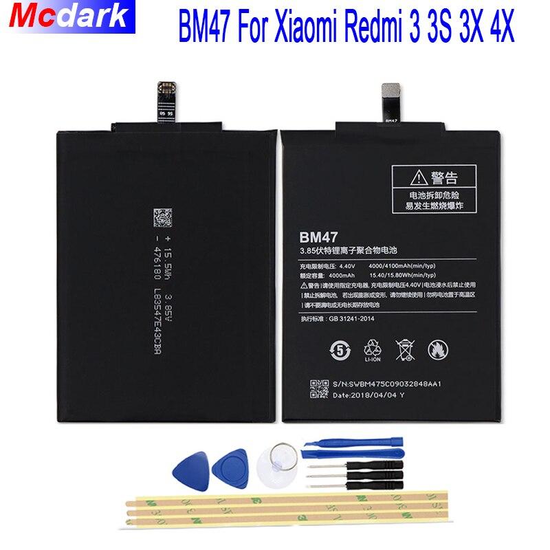 4000 mah BM47 Batteria Per Xiaomi Redmi 3 3 s 3X Redmi 4X Batterie Bateria Accumulator + Strumenti